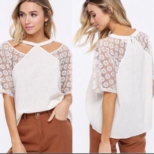 Tops - White Cutout Floral Short Sleeved Summer Blouse